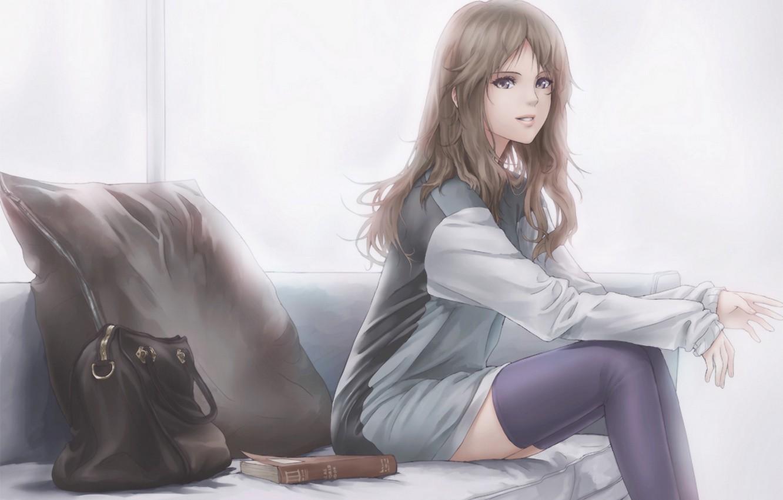 Photo wallpaper look, pose, Girl, book, bag, legs, knee
