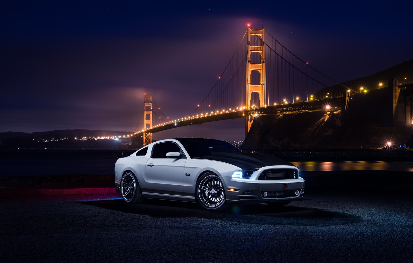 Photo wallpaper Mustang, Ford, Muscle, Car, Front, Bridge, White, River, Collection, Aristo, Top, Nigth