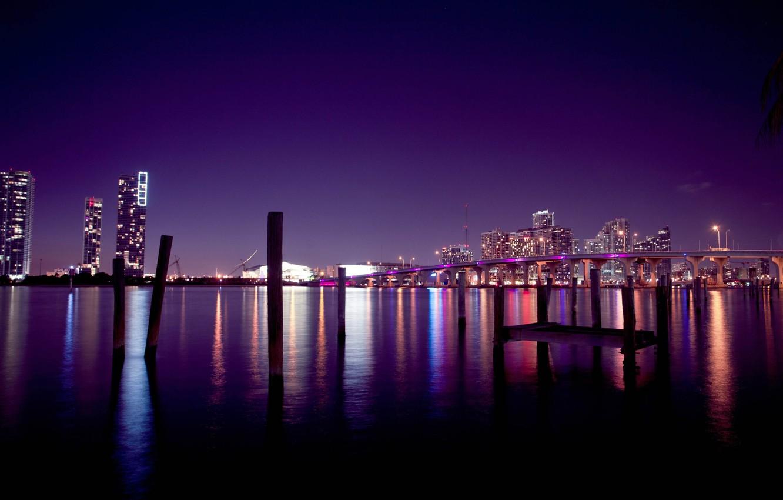 Photo wallpaper the sky, night, bridge, the city, building, home, America, USA, Miami, miami