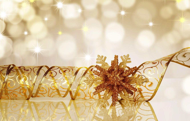 Photo wallpaper lights, snowflake, gold ribbon