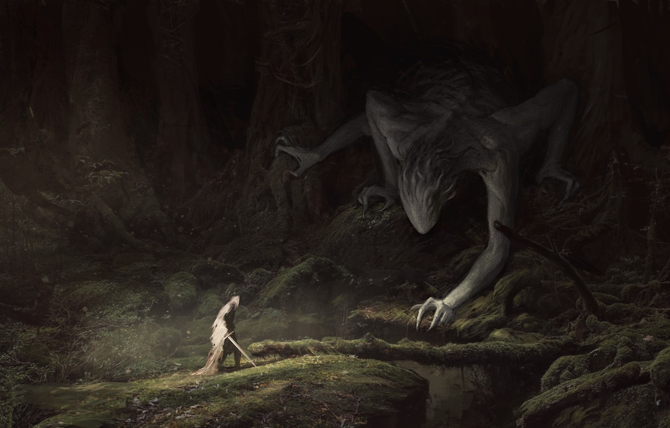Photo wallpaper forest, trees, branches, people, moss, sword, being, art, Fantasy, cloak