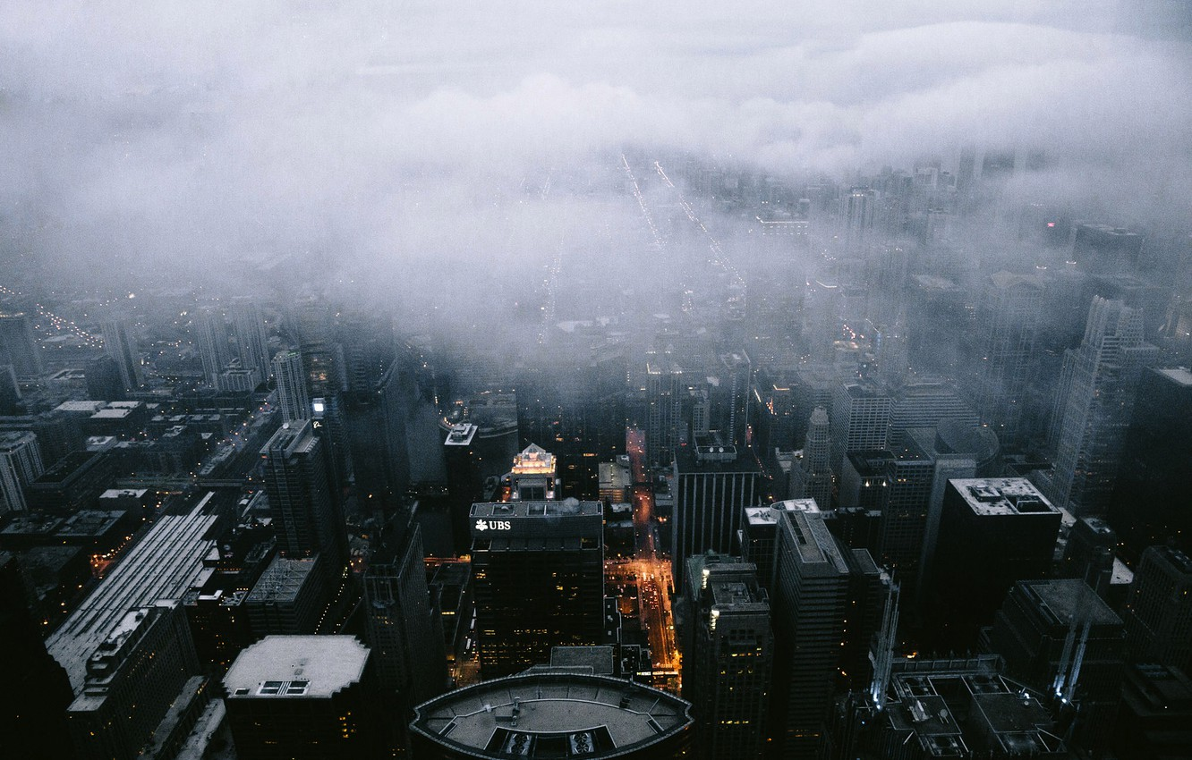 Photo wallpaper City, Clouds, Chicago, Landscape, Fog, Architecture, Scape