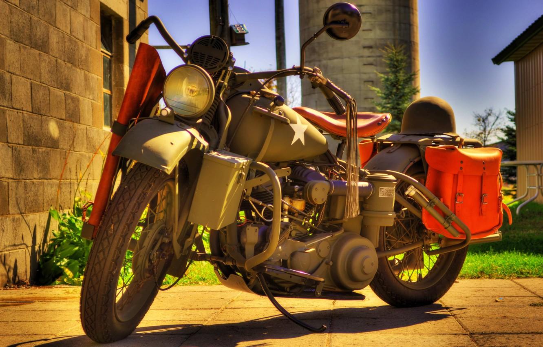 Photo wallpaper model, HDR, war, motorcycle, helmet, military, Harley-Davidson, world, Second, times, 1942., WLA