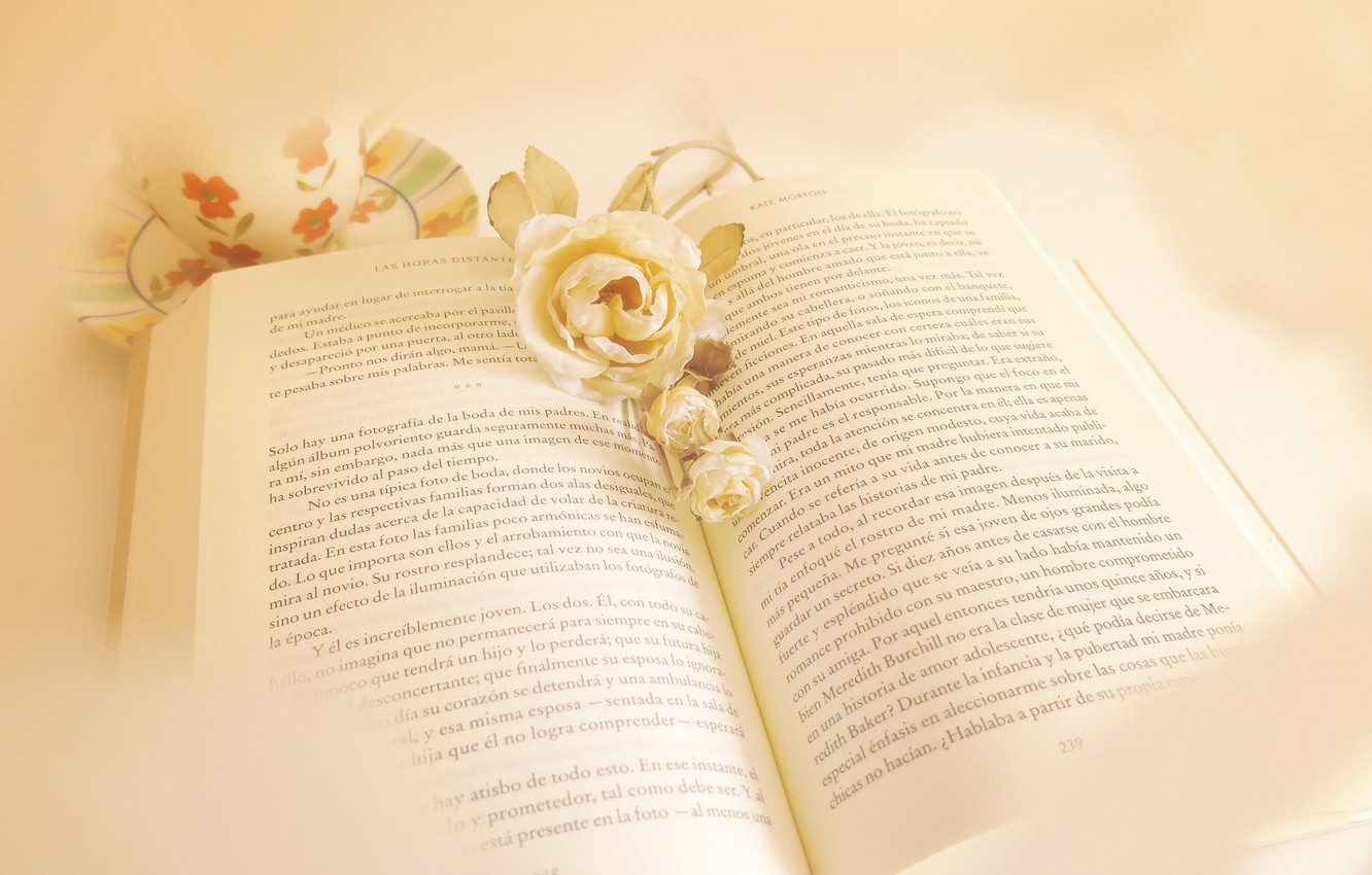Photo wallpaper flowers, style, book