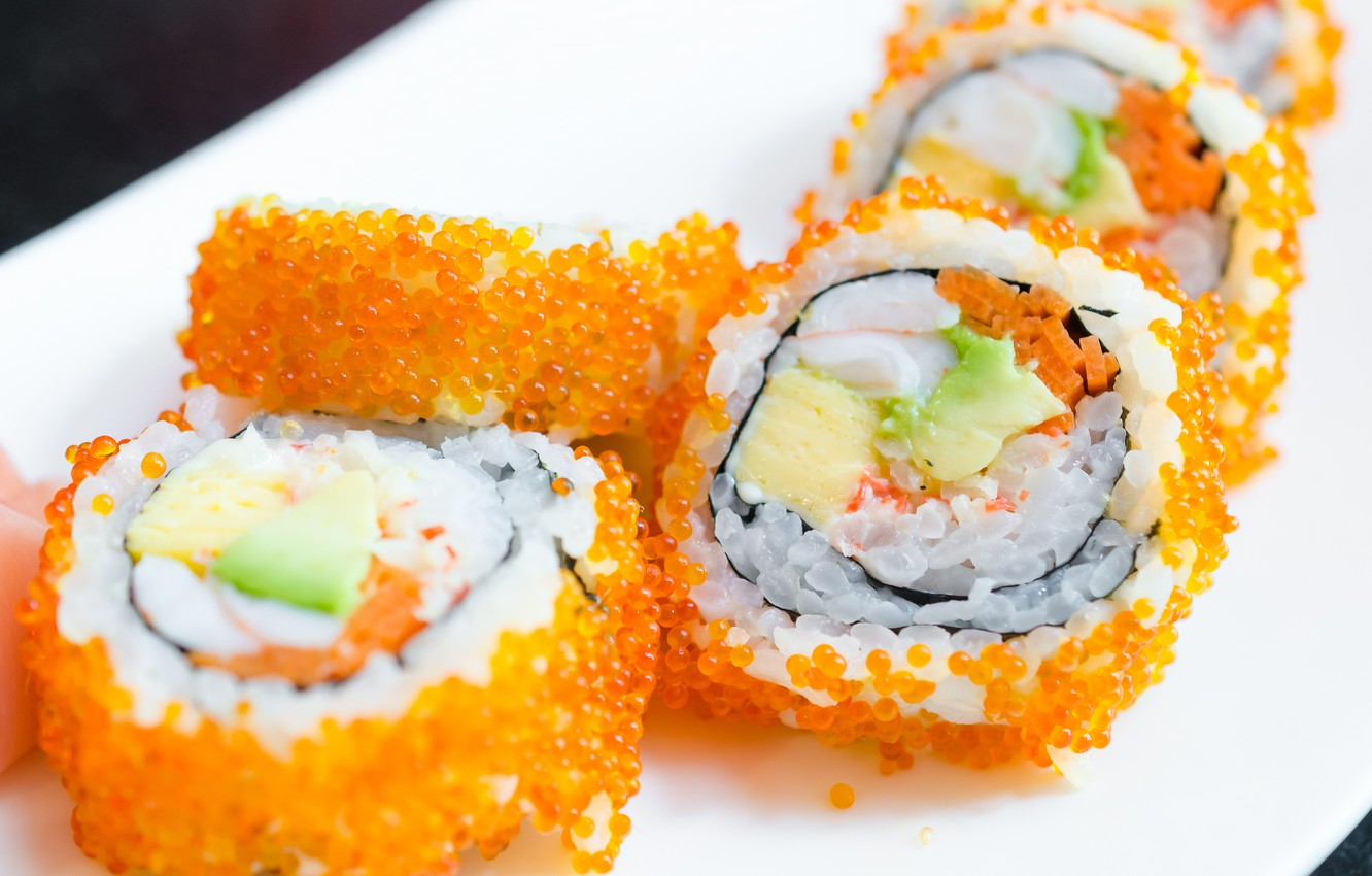 Photo wallpaper caviar, rolls, sushi, sushi, rolls, filling, Japanese cuisine, Japanese cuisine, stuffing, caviar
