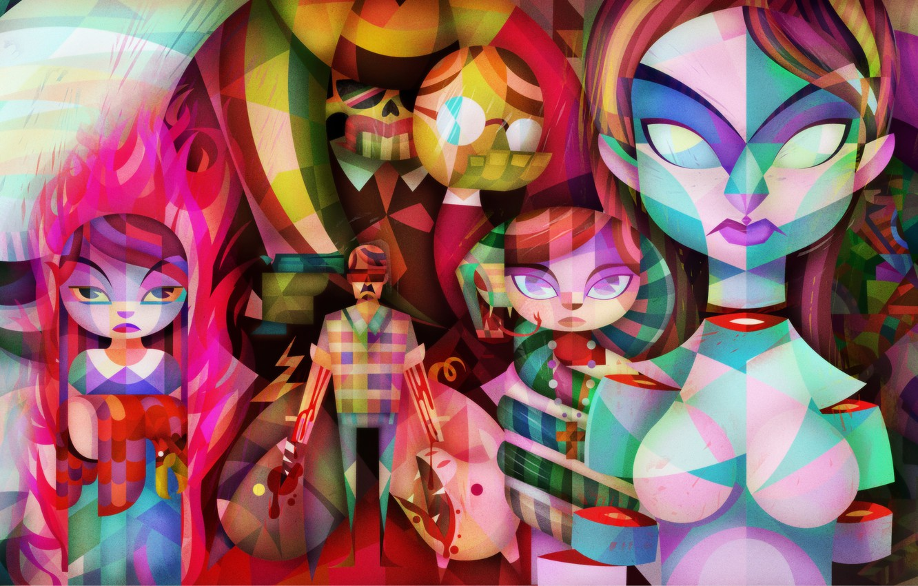 Photo wallpaper eyes, creative, people, fantasy, fire, blood, figure, vector, face, art, colorful, limbs