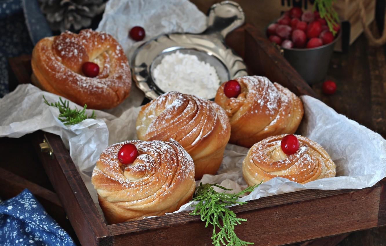 Photo wallpaper cakes, buns, cranberry