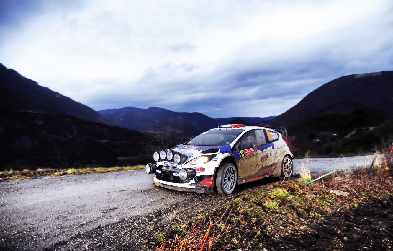 Photo wallpaper Ford, The evening, Auto, Mountains, Sport, Light, Ford, Race, Lights, WRC, Rally, Rally, Fiesta