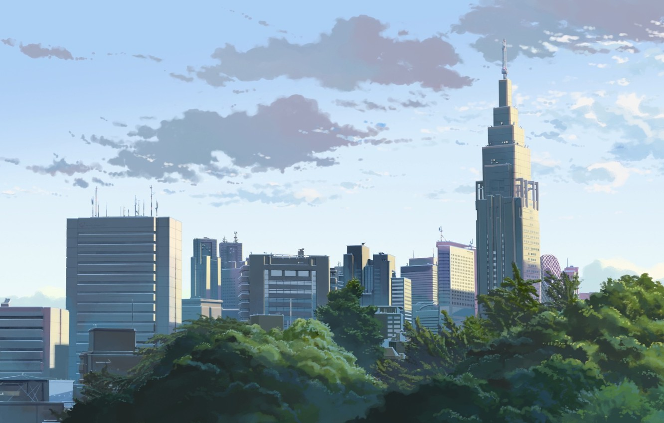 Photo wallpaper The sky, The city, Trees, Morning, Clouds, Building, City, Anime, Clouds, Sky, Makoto Xingkai, Anime, …