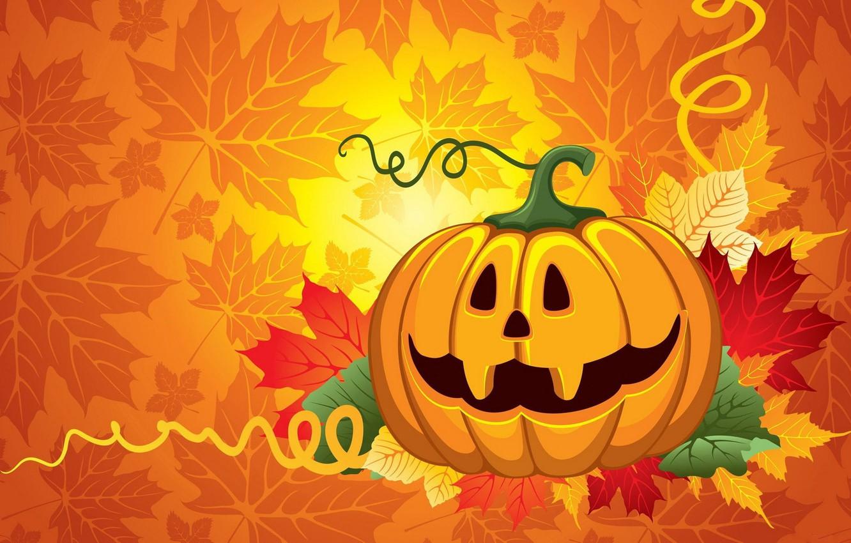 Photo wallpaper leaves, pumpkin, Halloween, halloween