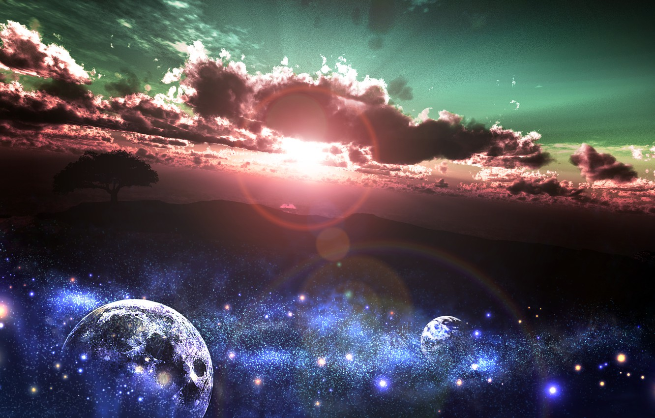 Photo wallpaper the sky, the sun, stars, clouds, sunset, nature, tree, earth, planet, art, and-k