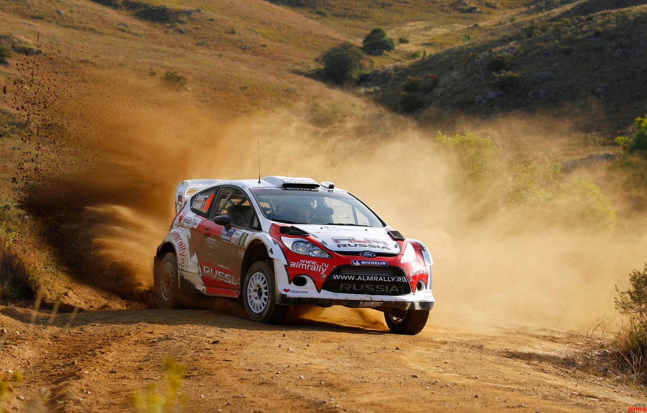 Photo wallpaper Ford, Ford, Race, Skid, Russia, Car, WRC, Rally, Fiesta