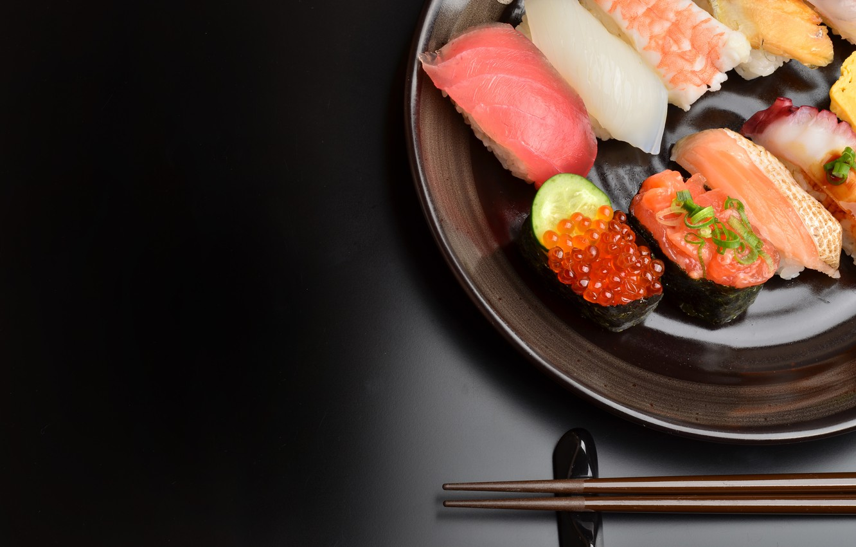 Photo wallpaper food, fish, black background, caviar, sushi, seafood, cuts, fillet