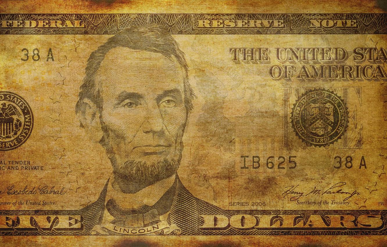 Photo wallpaper dollar, linсoln, bill