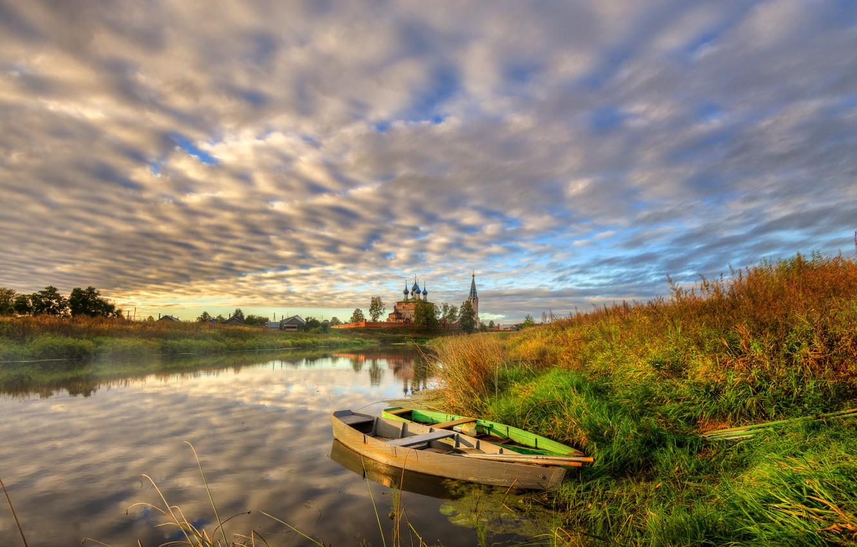 Photo wallpaper autumn, grass, sunset, shore, village, boats, the evening, Church, river