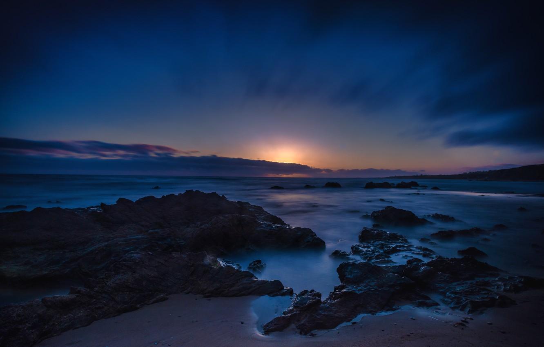 Wallpaper Sand Sea Night Stones Coast Horizon Ca Usa Newport Beach Crystal Cove Images For Desktop Section Pejzazhi Download
