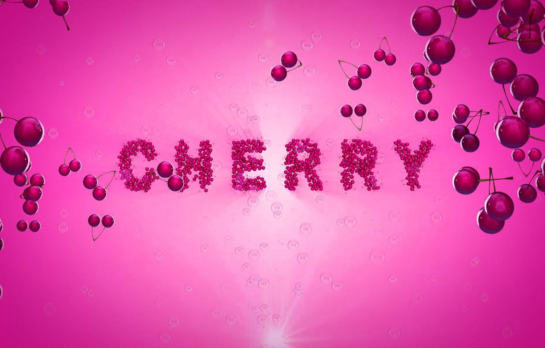 Photo wallpaper cherry, berries, pink, the inscription, cherry, chereshnya