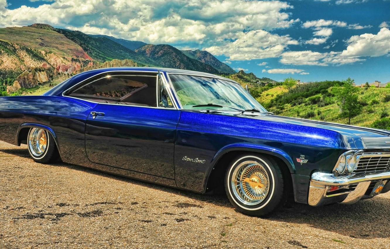 Photo wallpaper Chevrolet, Chevrolet, blue, Blue, Impala, Impala, Lowrider, Super sport, '1965, low rider