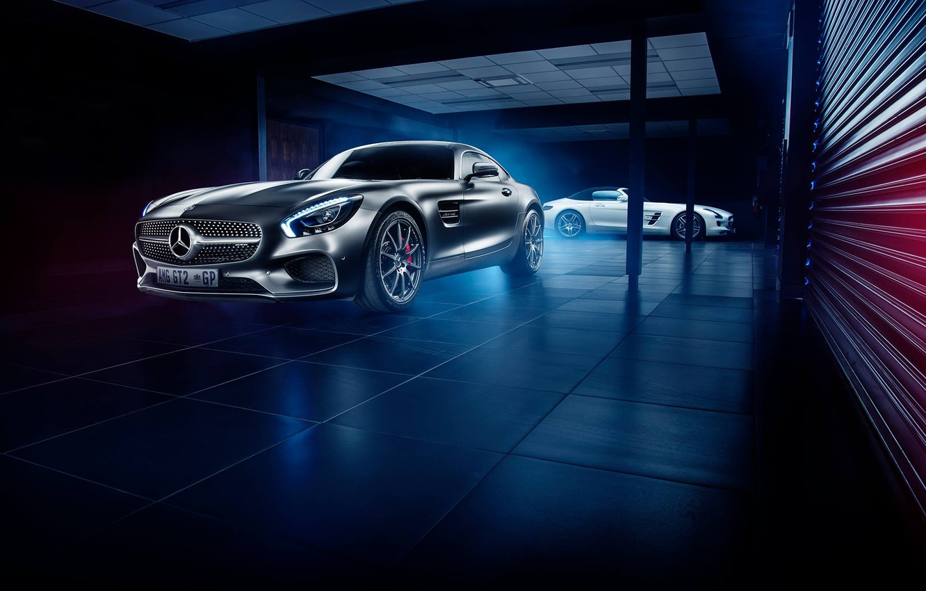 Photo wallpaper Roadster, Mercedes-Benz, Front, AMG, SLS, White, Grey, Side, Supercars, GT S
