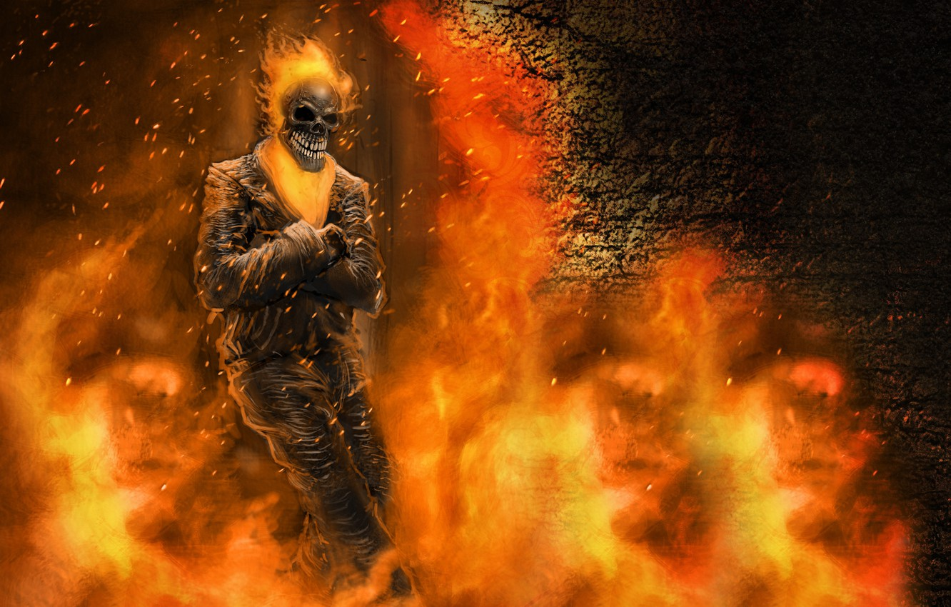 Photo wallpaper fiction, fire, skeleton, Ghost rider, ghost rider