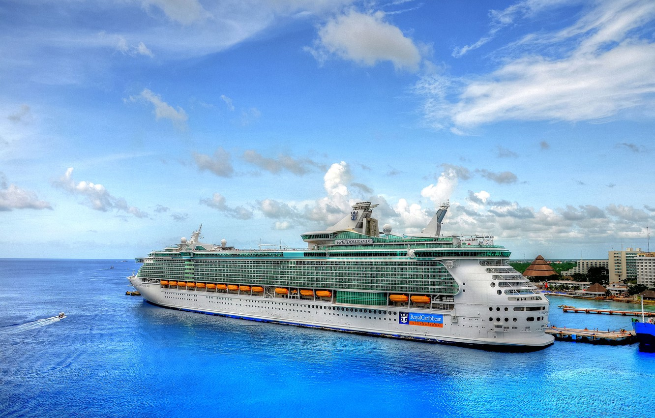 Photo wallpaper sea, the sky, clouds, landscape, boat, ship, home, vacation, pier, port, boat, liner