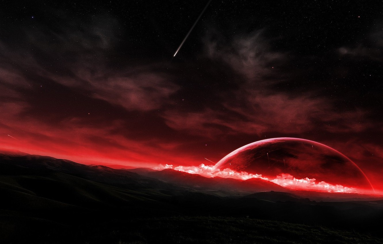 Photo wallpaper surface, meteor, the red planet