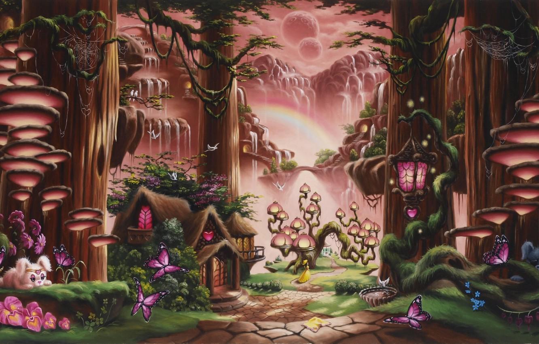 Photo wallpaper forest, girl, trees, butterfly, sunset, flowers, mountains, mushrooms, waterfall, tale, rainbow, fantasy, art, track, lantern, …