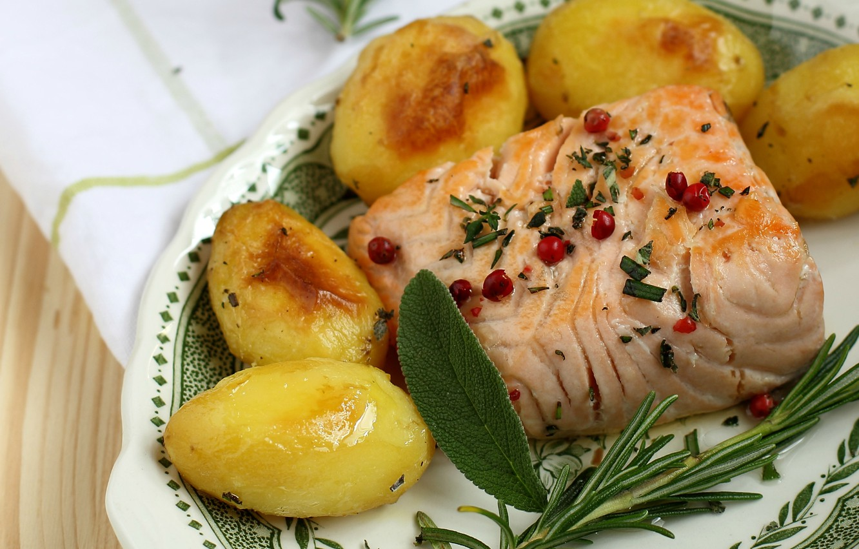 Photo wallpaper fish, salmon, rosemary, potatoes, sage