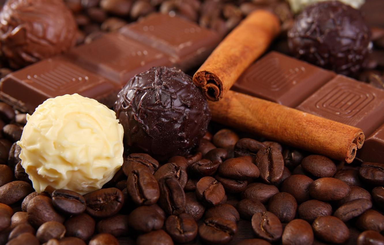 Photo wallpaper white, balls, black, coffee, chocolate, grain, cinnamon