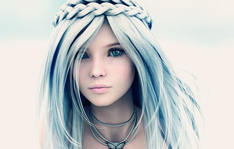 Photo wallpaper girl, face, rendering, mutant designs