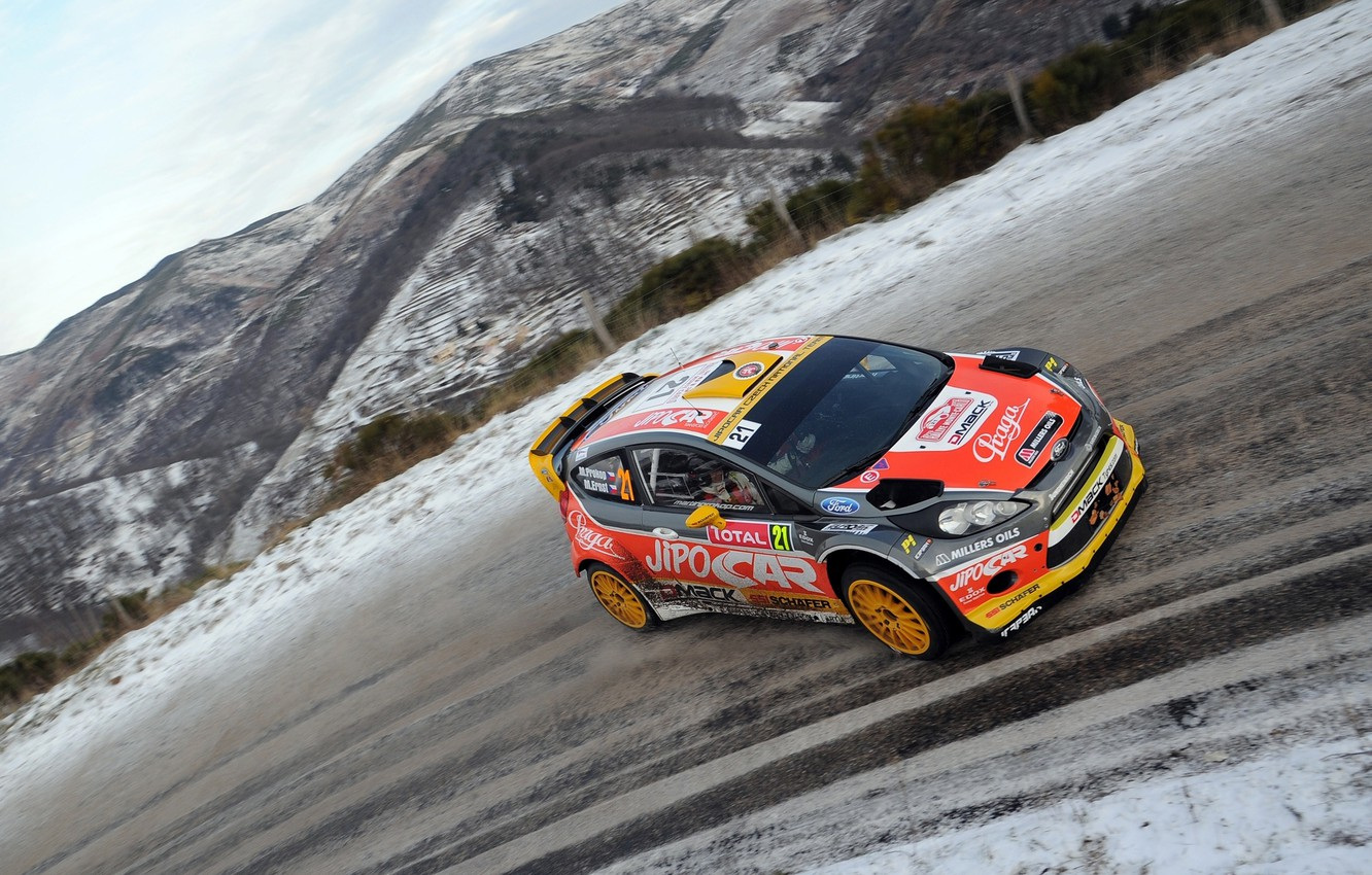 Photo wallpaper Ford, Road, Race, WRC, Rally, Fiesta, Monte-Carlo, The front