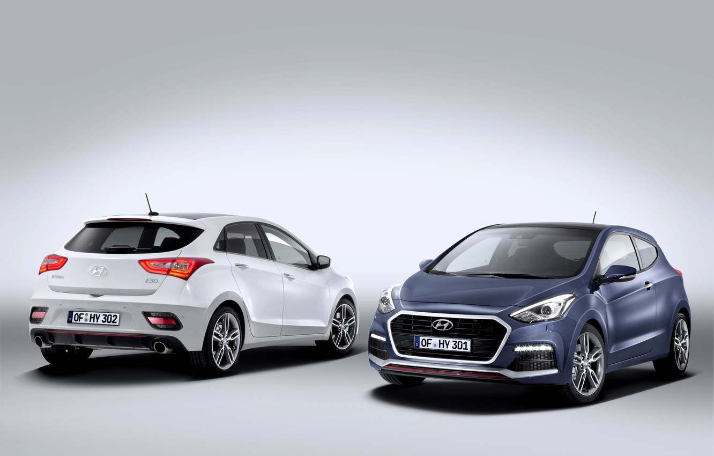 Photo wallpaper photo, Hyundai, Cars, Two, 2015, i30 Turbo