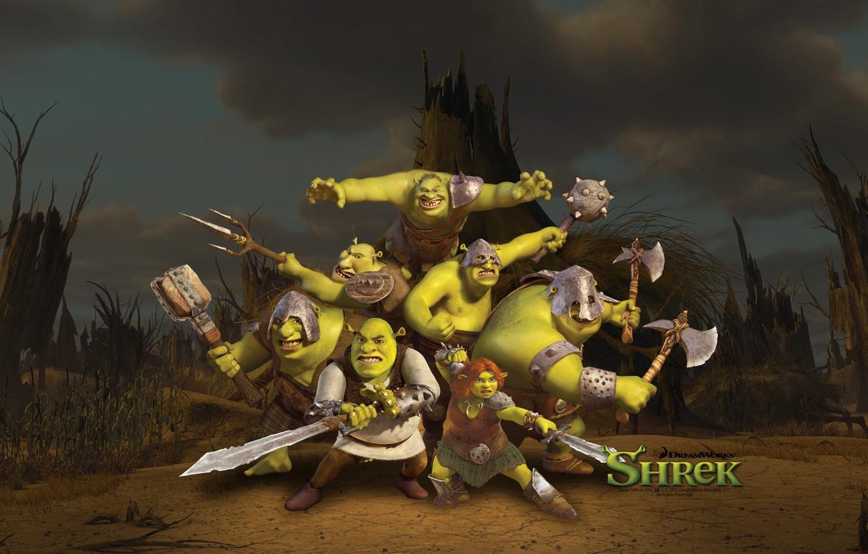 Photo wallpaper gang, swords, Shrek forever