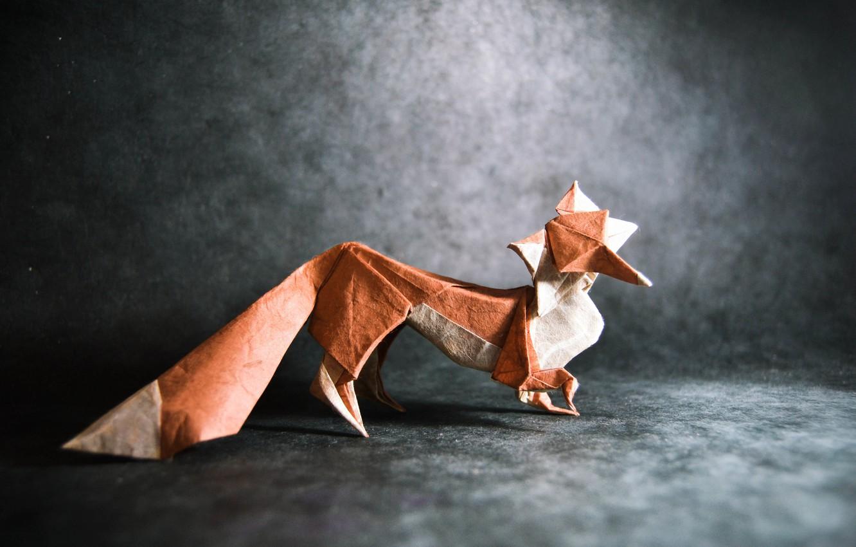 Photo wallpaper grey, Fox, tail, fox, origami, tail, origami, gray
