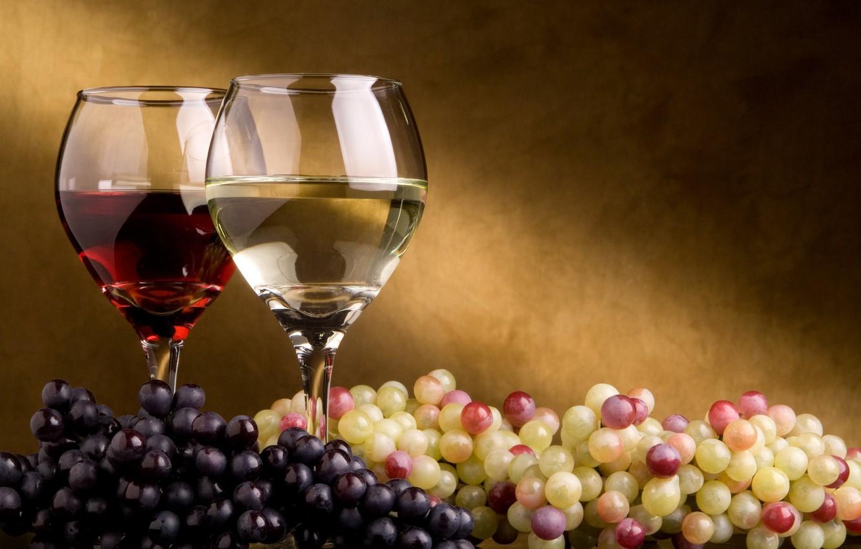 Photo wallpaper wine, glasses, grapes