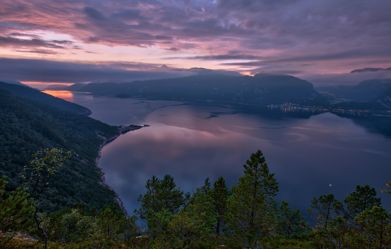 Photo wallpaper the sky, clouds, trees, sunset, mountains, nature, the city, lights, lake, view, height, the evening, …