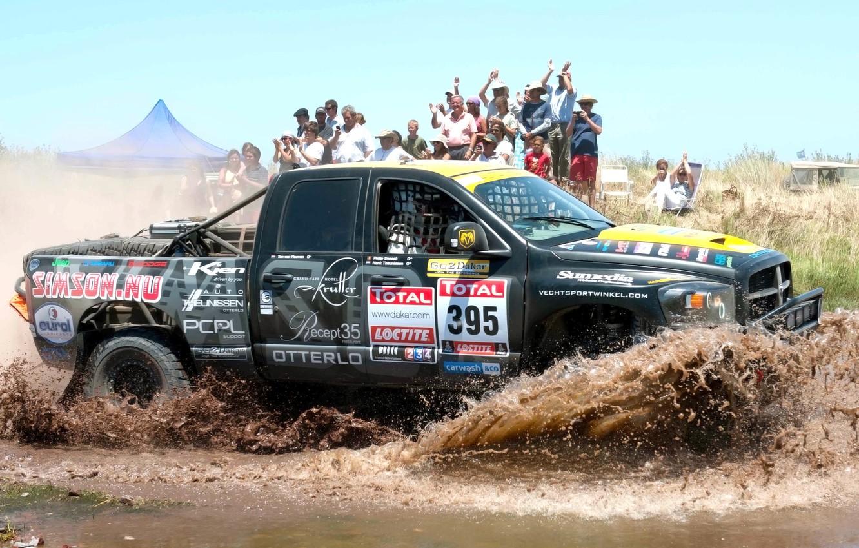 Photo wallpaper Water, Auto, Sport, Machine, People, Dodge, Race, Day, Jeep, Squirt, Rally, Dakar, SUV, Rally, Side …