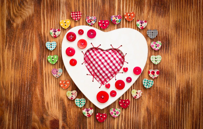 Wallpaper love, heart, hearts, buttons, love, heart, wood