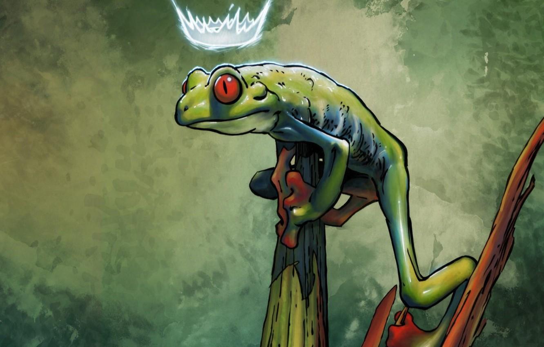 Photo wallpaper greens, Frog, crown