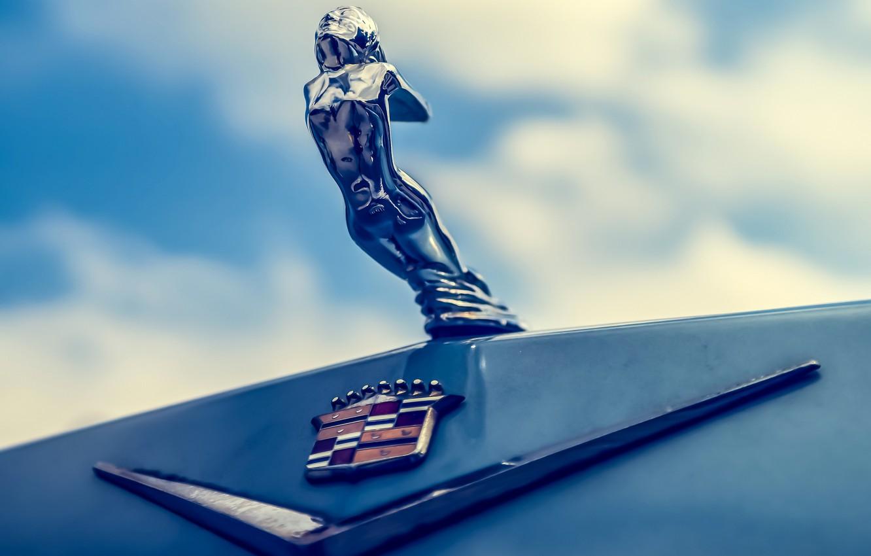 Photo wallpaper macro, Cadillac, the hood, emblem