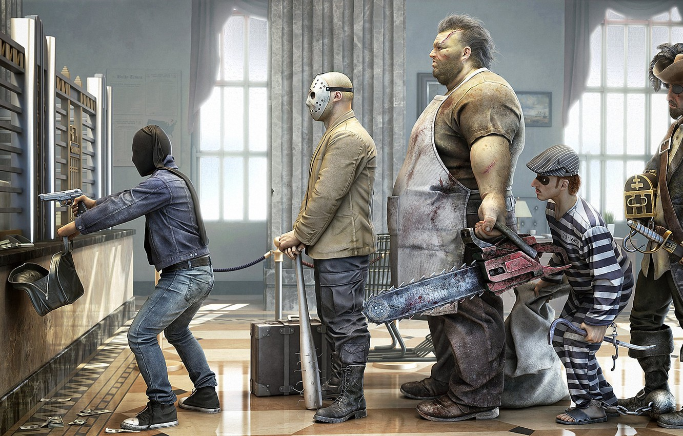 Photo wallpaper humor, mask, pirate, maniacs, bag, the Bank, robbery, chainsaw, render, bit, con, customers, Rob