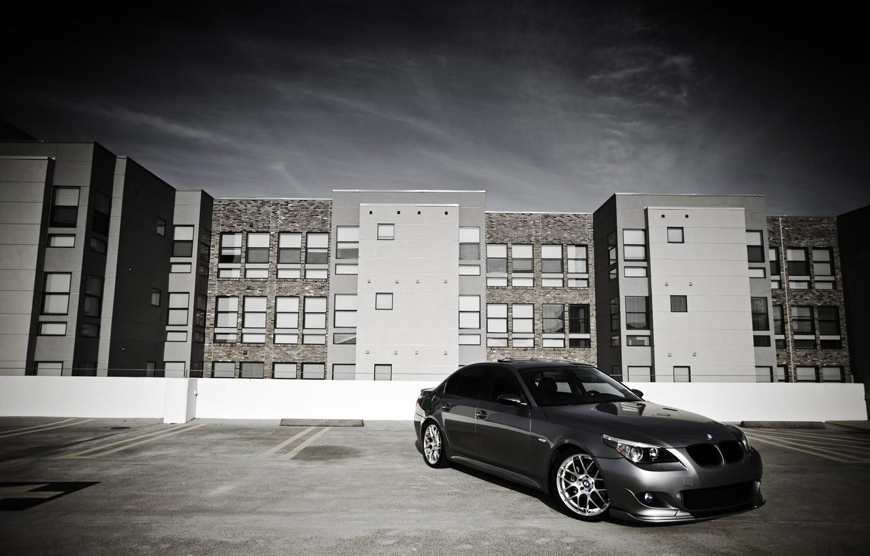 Photo wallpaper City, cars, auto, Bmw, wallpapers auto, Parking, Wallpaper BMW, 530i, bmw e60
