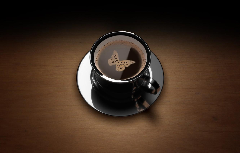 Photo wallpaper butterfly, coffee, Cup, foam