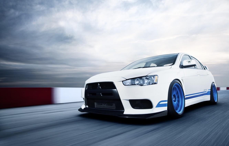 Photo wallpaper white, speed, Mitsubishi, Lancer, white, Evolution, track, Lancer, Mitsubishi, evolution