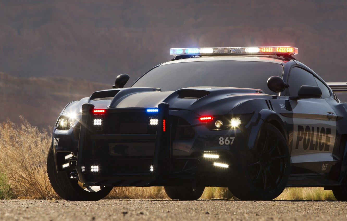 Photo wallpaper Ford Mustang, Transformers, Transformers 5: The Last Knight, Barricade, Custom Ford Mustang Police Car