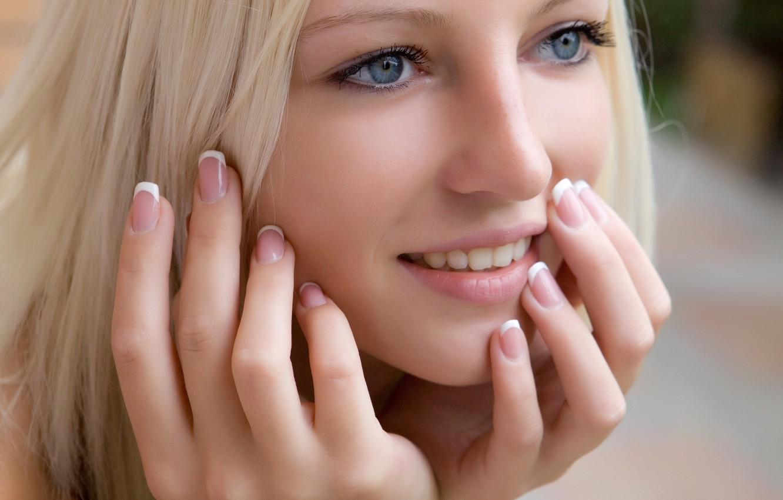Photo wallpaper eyes, look, girl, smile, Wallpaper, blue, blonde, wallpaper, girl, nails, blue, eyes, smile, manicure, look, …