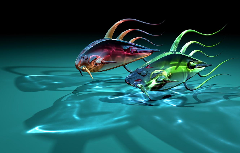 Photo wallpaper glass, fish, fish, two, art, transparent, shadows