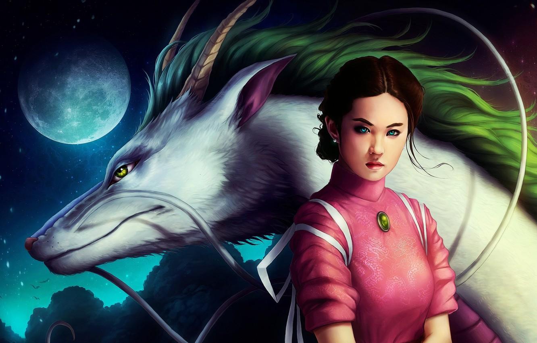 Photo wallpaper girl, the moon, dragon, anime, art, spirited away, spirited away, Hayao Miyazaki, Chihiro, Haku, the …