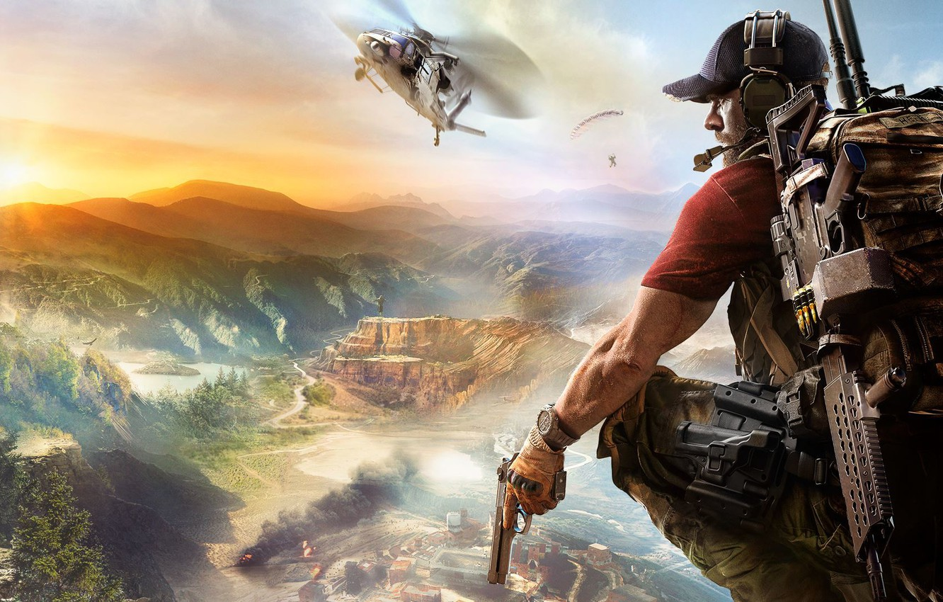 Photo wallpaper Sunset, The sky, Clouds, Mountains, Smoke, Weapons, Ubisoft, Ghost, Helicopter, South America, Equipment, Ubisoft Entertainment, …