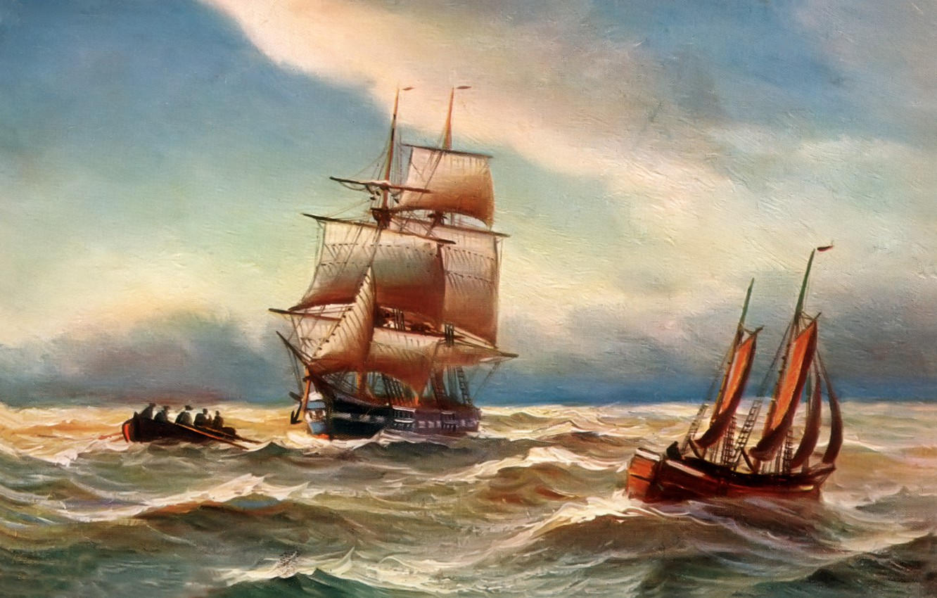 Photo wallpaper sea, wave, the sky, landscape, storm, people, boat, ship, picture, sails, Alfred Jansen